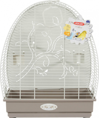 Cage Arabesque Alice 40cm grise avec fond métal