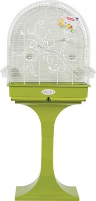 Cage Arabesque Anna 60cm verte avec pied et fond métal