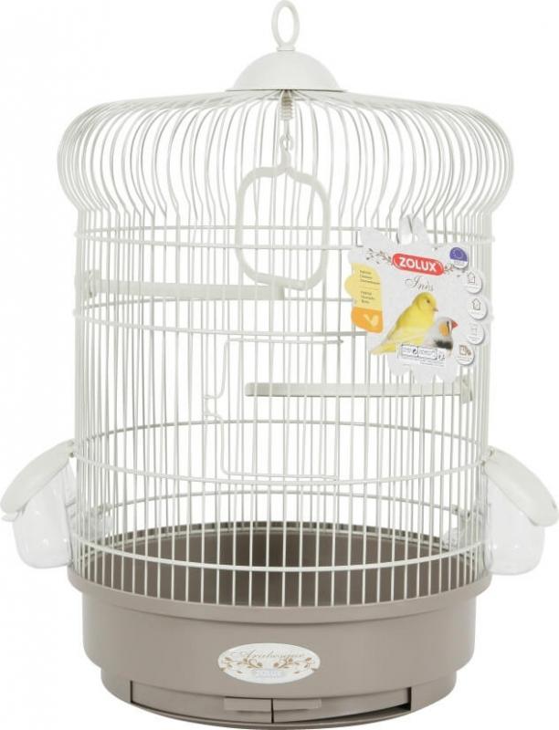 Cage ronde Coquelicot, coloris gris taupe