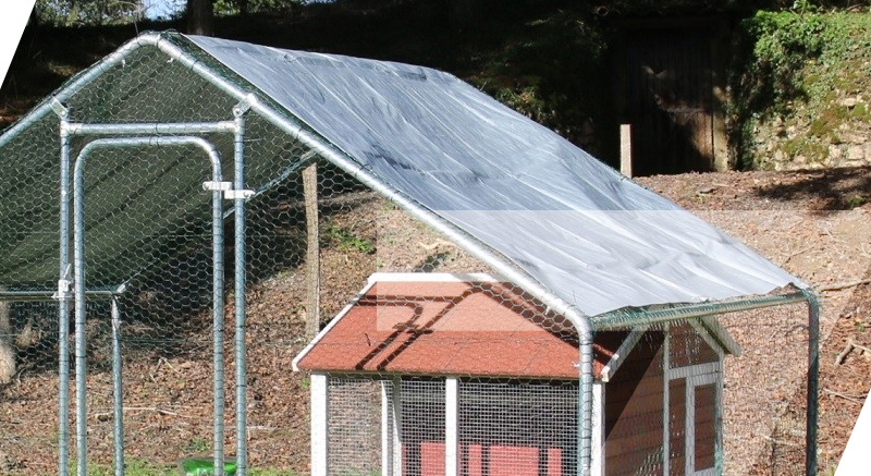 enclos zolia en métal poules toit bache