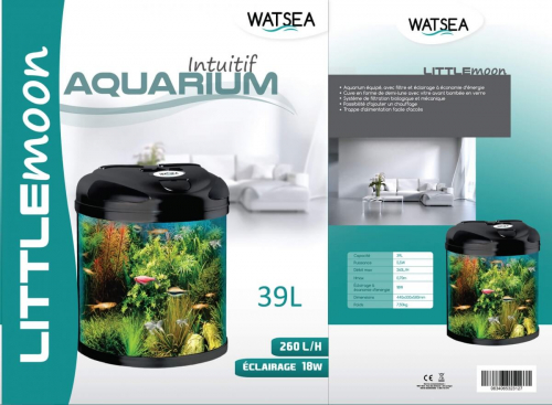 fully equipped Half Moon Aquarium LITTLEMOON 39L