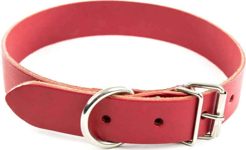 Collier cuir rouge