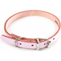 Collier cuir rose