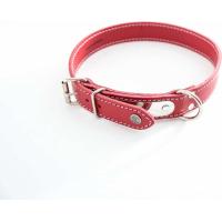 Collier cuir rouge surpiqué avec plaque