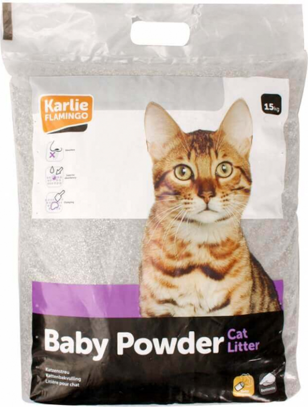 Litière chat agglomérante Baby powder 15kg