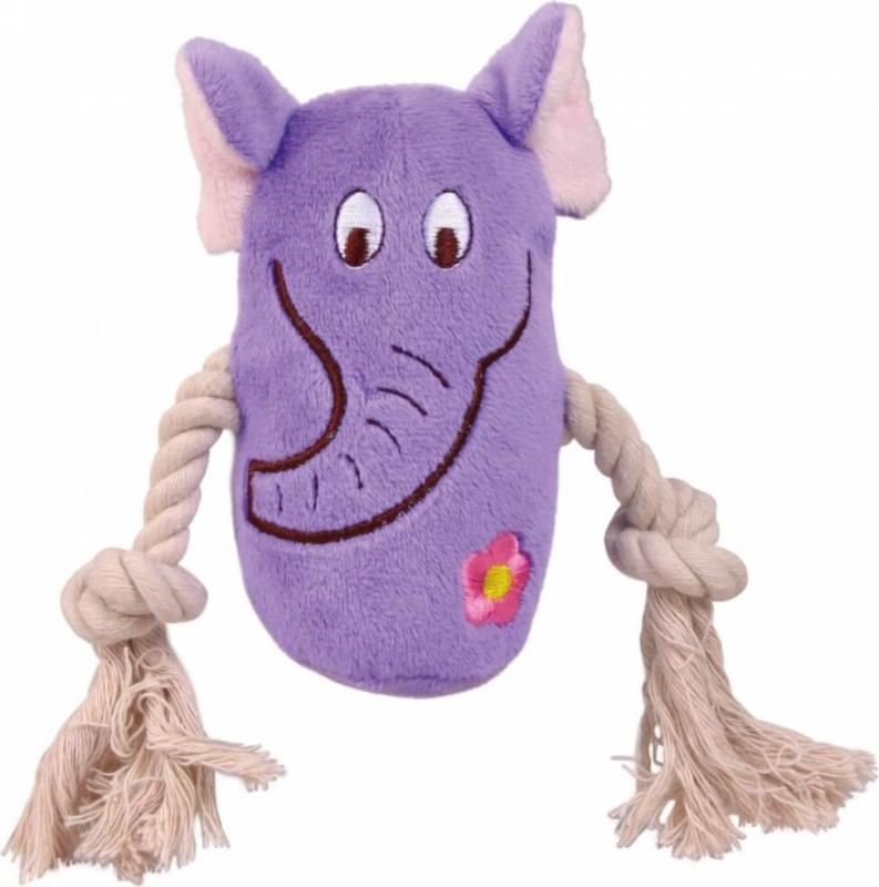 Animal peluche colorée avec corde