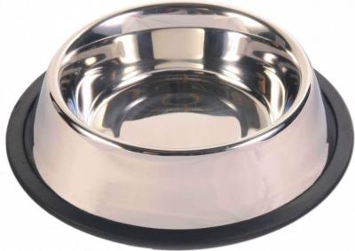 Ecuelle en acier inox avec anneau en caoutchouc antidérapant