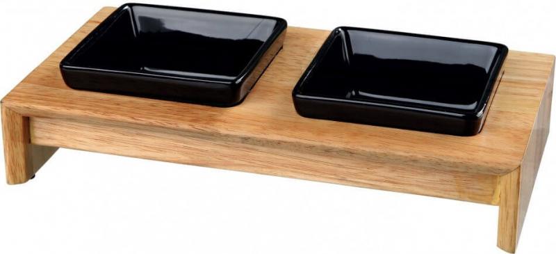 Set écuelles céramique support bois