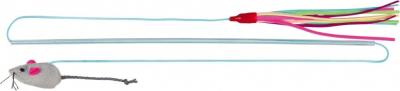 Canne à pêche avec lanières cuir et souris en peluche