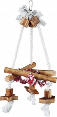 Balançoire sur corde avec pièces en bois et noeuds