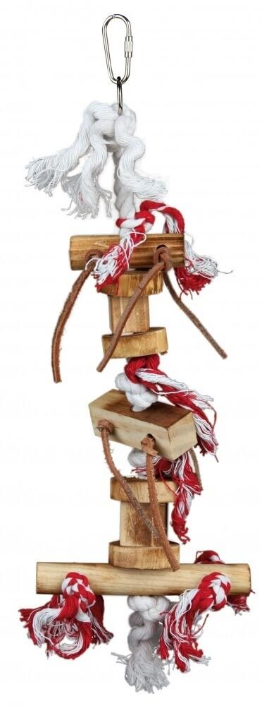 Jouet bois sur corde avec bandelettes de cuir_0