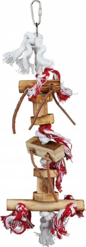 Jouet bois sur corde avec bandelettes de cuir