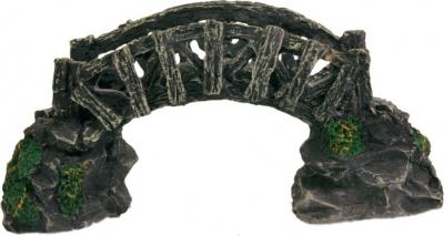Décor Petit pont en bois sur rochers 17cm