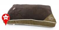 Cojín marrón oscuro ZOLIA con bordes blancos EZIO