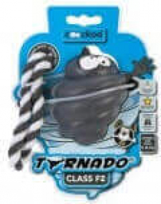 Jouet en caoutchouc résistant TORNADO gris métal avec corde