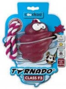 Jouet en caoutchouc résistant TORNADO bordeaux avec corde