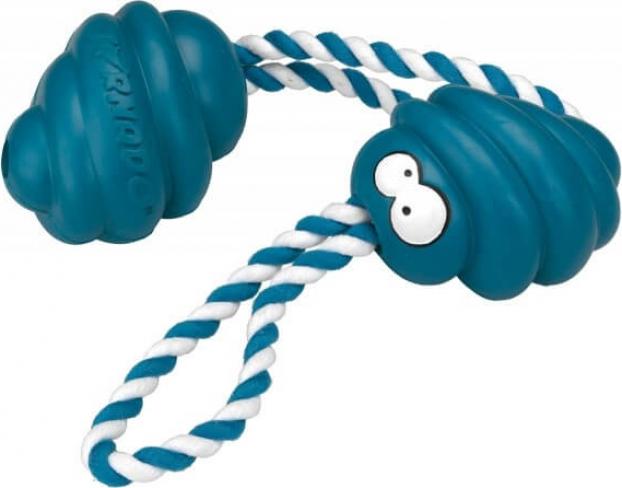 Jouet en caoutchouc résistant TORNADO bleu pétrole avec corde