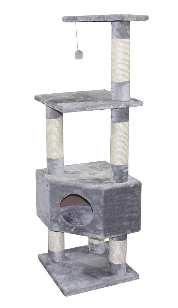 arbre chat classique gris clair loona 135cm arbre chat. Black Bedroom Furniture Sets. Home Design Ideas
