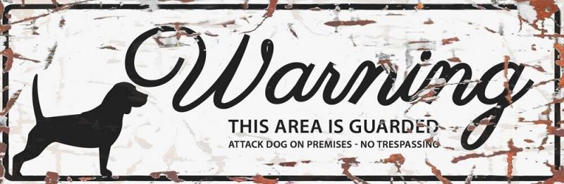 Panneau rectangulaire métal WARNING Beagle
