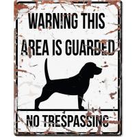 Panneau carré métal WARNING Beagle