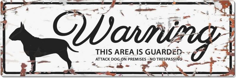 Panneau rectangulaire métal WARNING Bull Terrier