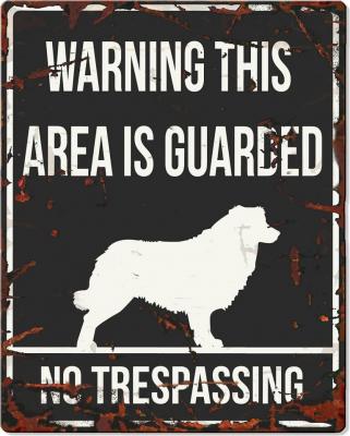 Panneau carré métal WARNING Berger australien