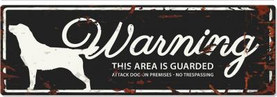 Panneau rectangulaire métal WARNING Labrador