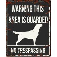 Panneau carré métal WARNING Labrador