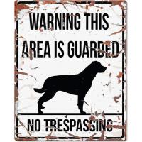 Panneau carré métal WARNING Rottweiler