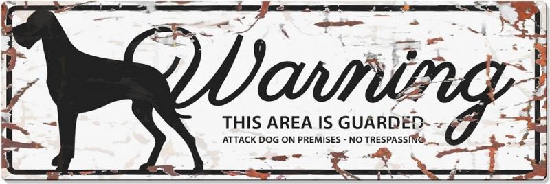 Panneau rectangulaire métal WARNING Dogue Allemand