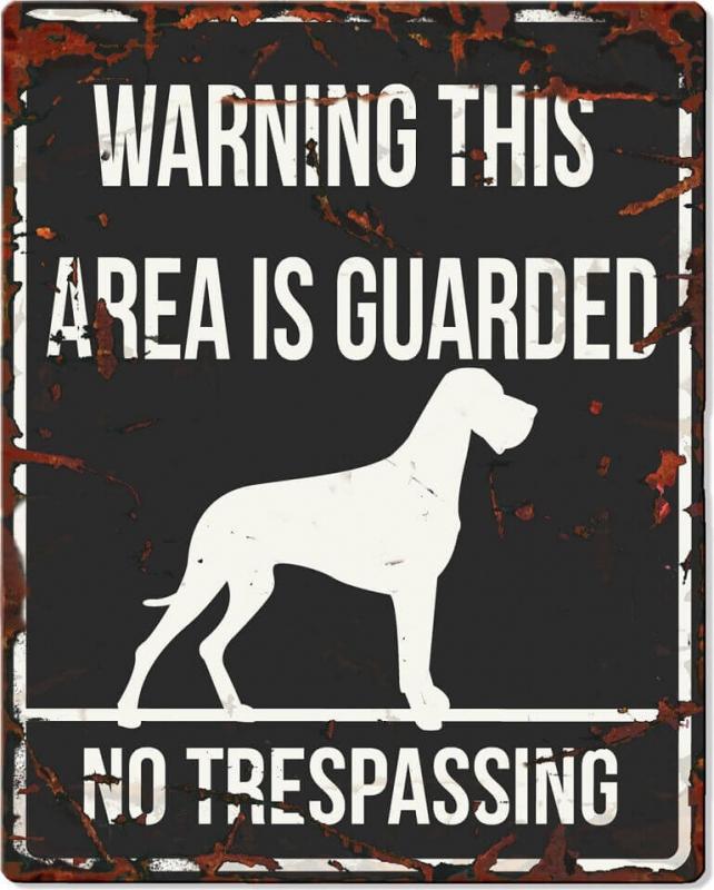Panneau carré métal WARNING Dogue Allemand