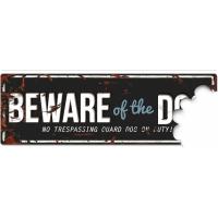 Panneau métallisé BEWARE OF THE DOG Blue