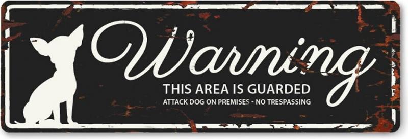 Mini Panneau métal WARNING Chihuahua
