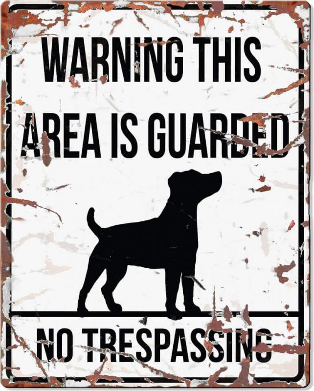Panneau carré métal WARNING Jack Russel
