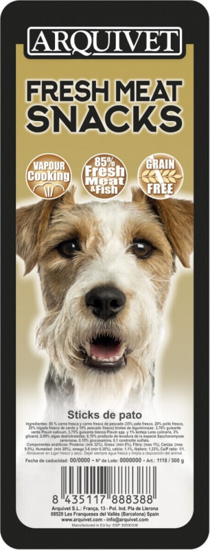 Bâtonnets de canard pour chien Sans Céréales Fresh Meat ARQUIVET