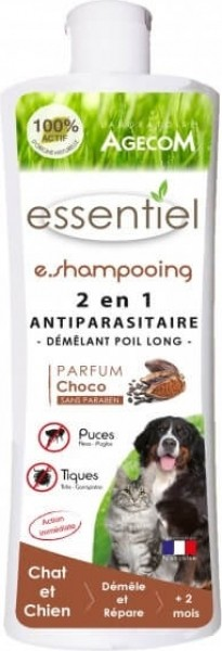 E.SHAMPOOING 2en1 anti parasitaire et démêlant poil long Choco