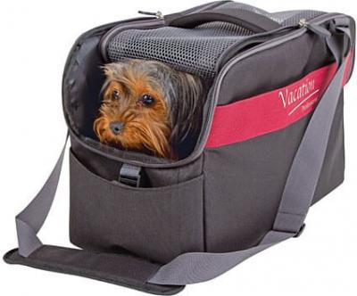 Sac de transport chien Vacation noir et rouge