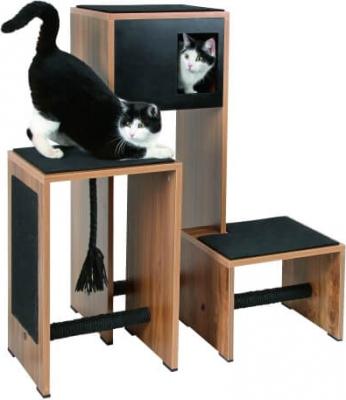 Meuble Arbre à chat et griffoir Ambiente, noir - 100cm