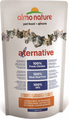 Almo Nature ALTERNATIVE DRY Katze 100% frisches Fleisch - HUHN & REIS