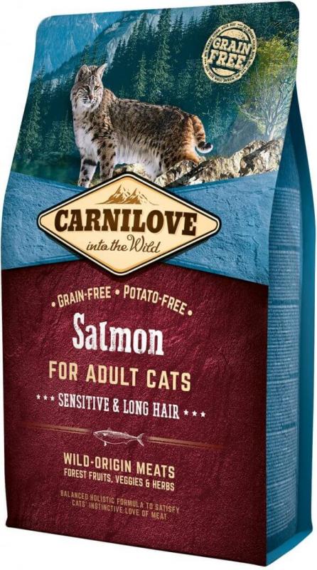 Carnilove Zalm Sensitive & Long hair voor volwassen katten
