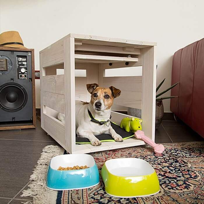 Niche d 39 int rieur dog home taupe pour chiens niche for Niche pour chat interieur