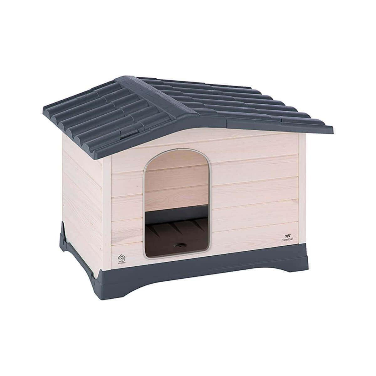 Caseta de madera y techo de pl stico dog lodge para perros for Caseta perro pvc