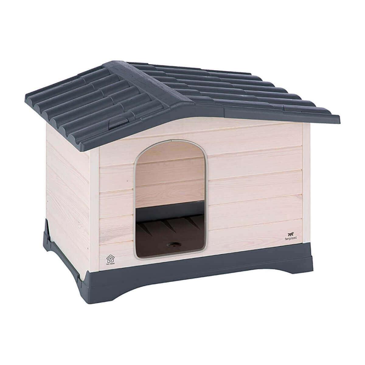 niche en bois et toit plastique dog lodge pour chiens niche. Black Bedroom Furniture Sets. Home Design Ideas