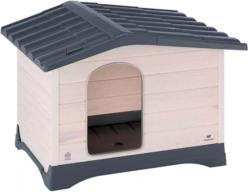 niche en bois et toit plastique dog lodge pour chiens. Black Bedroom Furniture Sets. Home Design Ideas