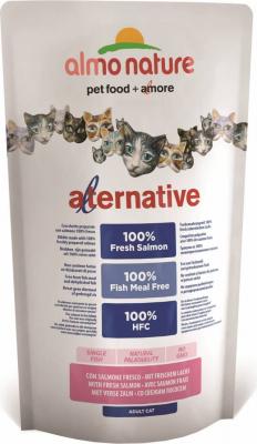 Almo Nature ALTERNATIVE DRY für Katzen 100 Frischfleisch - LACHS und REIS 750g
