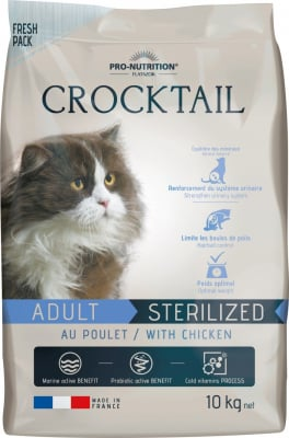 PRO-NUTRITION Flatazor CROCKTAIL Sterilized au Poulet pour Chat Adulte Stérilisé