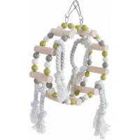 Balançoire roue bois + corde, coloris assortis