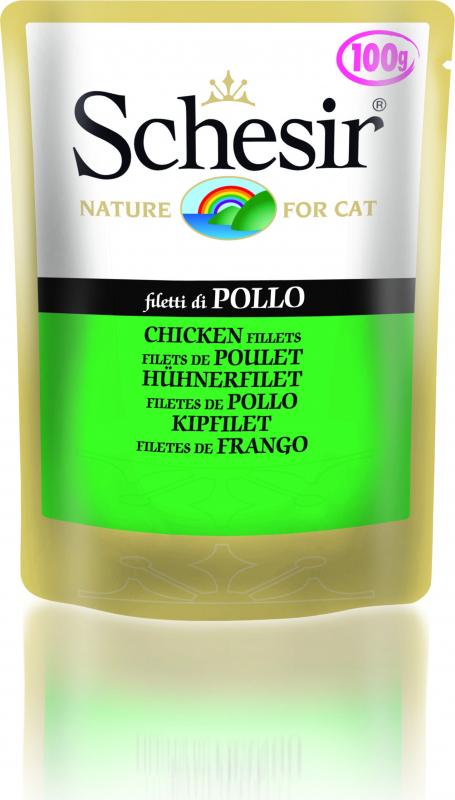 SCHESIR Sachet Fraîcheur en Gelée 100g pour chat Adulte - 12 Saveurs au Choix