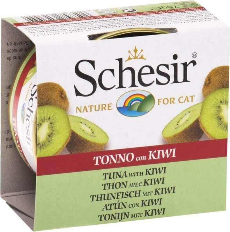 SCHESIR Pâtée Naturelle avec Morceaux de Fruits 75g pour Chat - 6 Saveurs au Choix