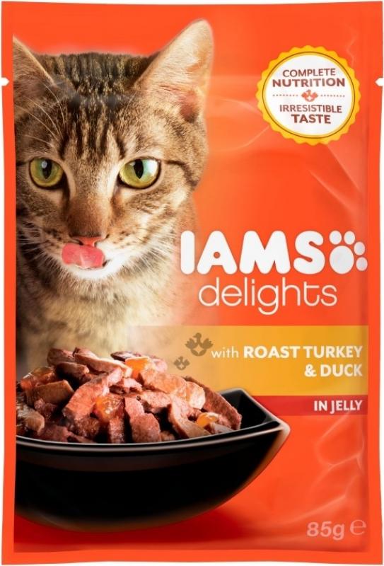 IAMS Sobres individuales Delights en salsa o en Gelatina 85g para gato Adulto - 4 Sabores diferentes